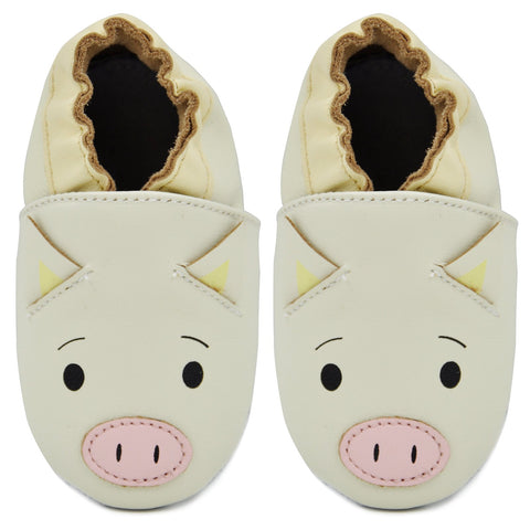 Kimi + Kai Unisex Soft Sole Leather Baby Shoes - Piggy