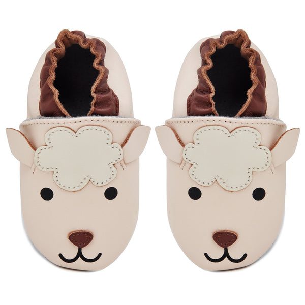Kimi + Kai Unisex Soft Sole Leather Baby Shoes - Lamb