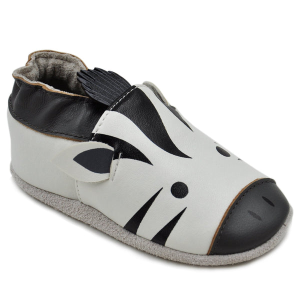Kimi + Kai Unisex Soft Sole Leather Baby Shoes - Zebra