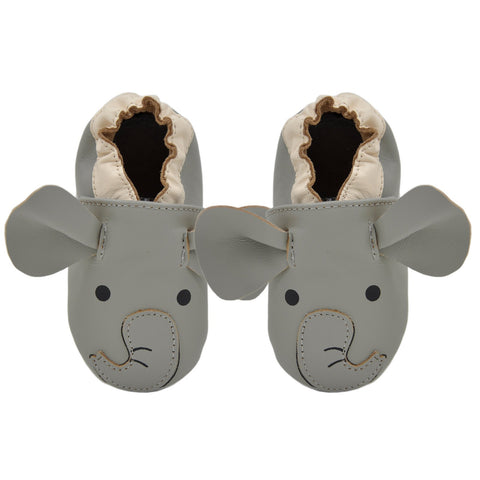 Kimi + Kai Unisex Soft Sole Leather Baby Shoes - Elephant