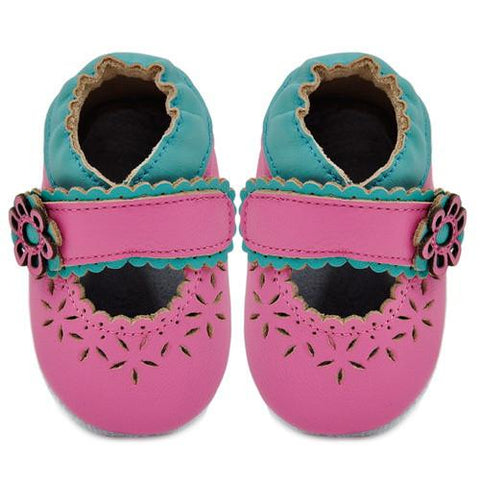 Kimi + Kai Girls Soft Sole Leather Baby Shoes - Cut Out Lacey Flower