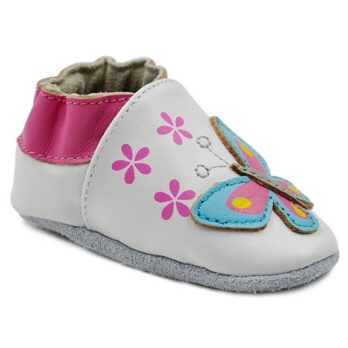 Kimi + Kai Girls Soft Sole Leather Baby Shoes - Butterfly