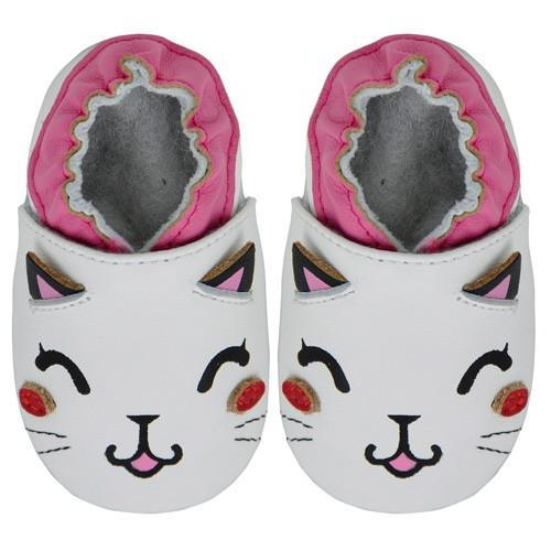 Kimi + Kai Girls Soft Sole Leather Baby Shoes - Cat