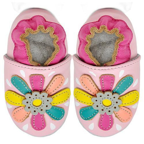 Kimi + Kai Girls Soft Sole Leather Baby Shoes - Flower