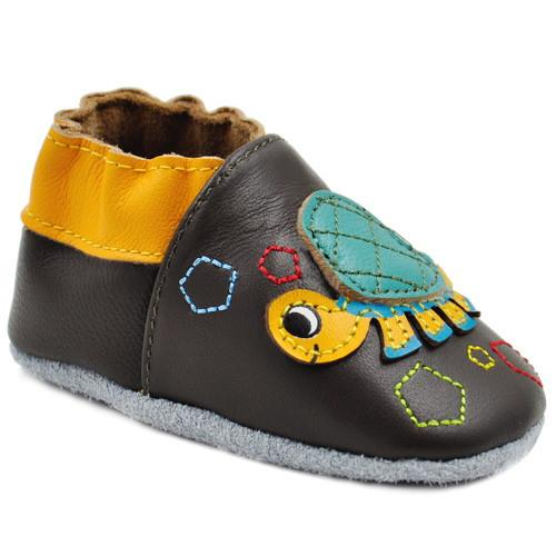 Kimi + Kai Boys Soft Sole Leather Baby Shoes - Turtle