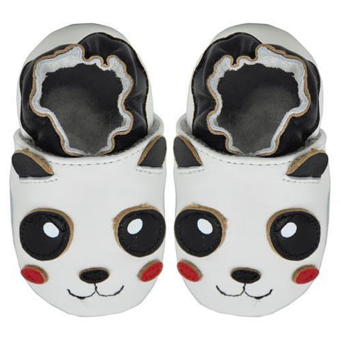 Kimi + Kai Unisex Soft Sole Leather Baby Shoes - Panda