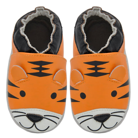 Kimi + Kai Boys Soft Sole Leather Baby Shoes - Tiger