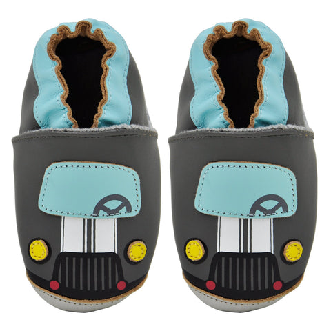 Kimi + Kai Boys Soft Sole Leather Baby Shoes - Car