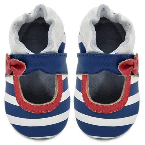 Kimi + Kai Girls Soft Sole Leather Baby Shoes - Striped
