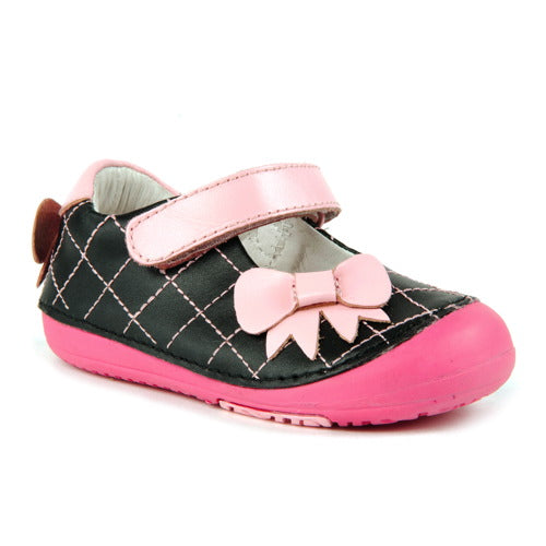 Momo Baby Girls First Walker Toddler Quilted Bow Mary Jane Leather Shoes