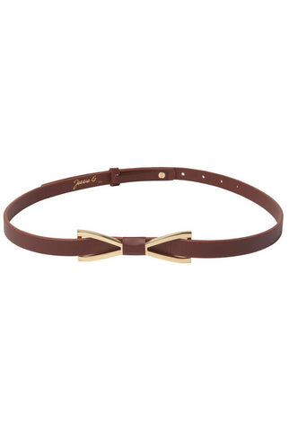 Jessie G. Women's Metal Bow Skinny Leather Belt