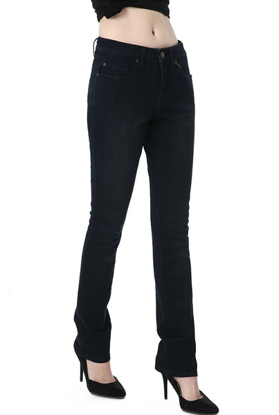 phistic Women's Ultra Stretch Black/Blue Straight Leg Jeans