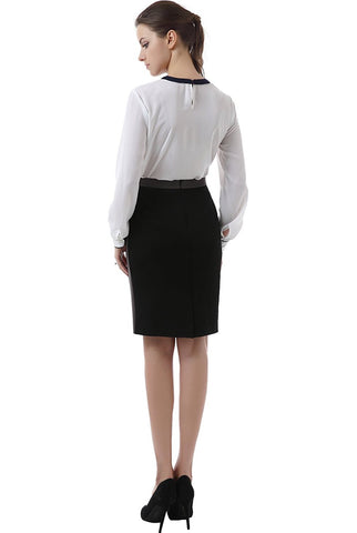 "Phistic Women's ""Lo"" Colorblock Trimmed Pencil Skirt"