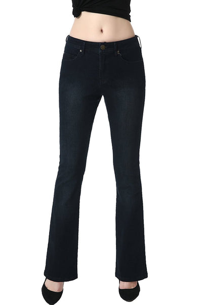 phistic Women's Ultra Stretch Black/Blue Modern Bootcut Jeans