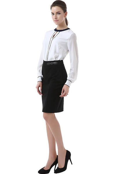 "Phistic Women's ""Kensie"" Buckle Detail Ponte Pencil Skirt"