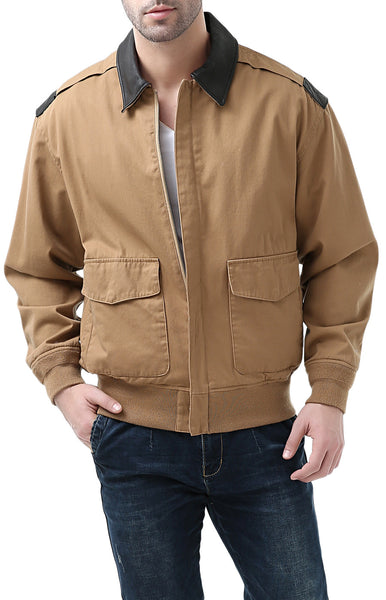 Landing Leathers Men's Air Force A-2 Leather Trim Bomber Jacket