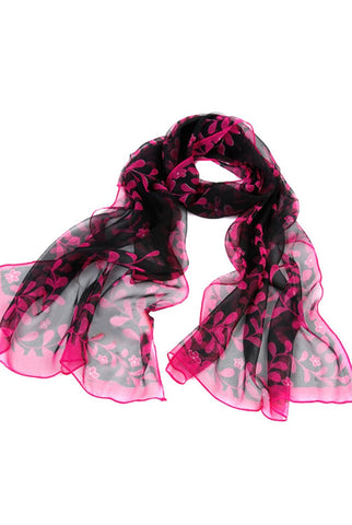 "Luxury Lane Women's ""Polka Dotted Vines"" Long Sheer Silk Wrap Scarf"