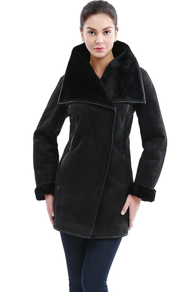 "BGSD Women's ""Heidi"" Zip Front Faux Shearling Coat"