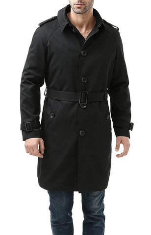 "BGSD Men's ""Ethan"" Traditional Waterproof Single Breasted Trench Coat"