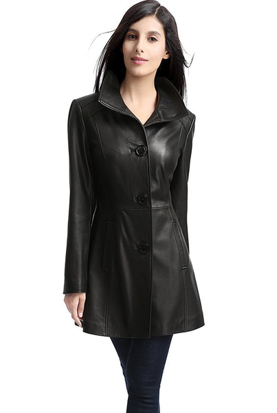 "BGSD Women's ""Belle"" New Zealand Lambskin Leather Walking Coat - Short"