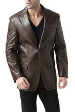 Load image into Gallery viewer, bgsd mens grant two button new zealand lambskin leather blazer big tall 1