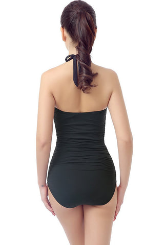 "PHISTIC ""Jamie"" Halter Ruched Crisscross One Piece"