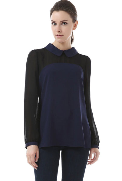 "Phistic Women's ""Easton"" Sheer Blocked Blouse"