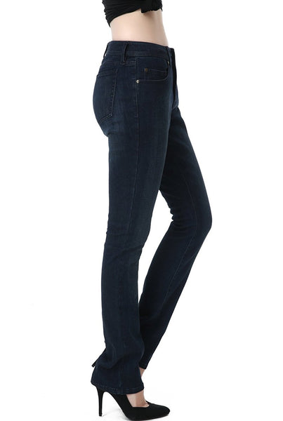 phistic Women's Ultra Stretch Dark Indigo Straight Leg Jeans