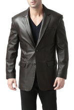 "Load image into Gallery viewer, BGSD Men's ""Richard"" Classic Two-Button Lambskin Leather Blazer- Short"