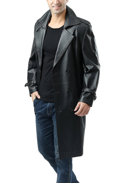 "BGSD Men's ""Xander"" Classic Leather Long Trench Coat - Big & Tall"
