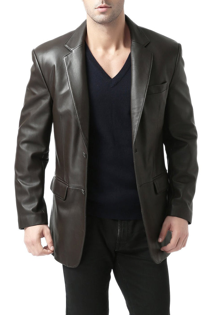 "BGSD Men's ""Richard"" Classic Two-Button New Zealand Lambskin Leather Blazer"