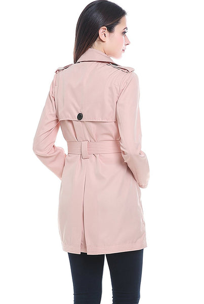 "BGSD Women's ""Gabby"" Hooded Classic Double-Breasted Mid Length Trench Coat"