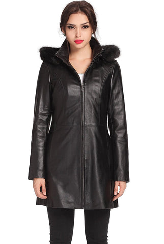 "BGSD Women's ""Irene"" New Zealand Lambskin Leather Parka Coat - Plus"