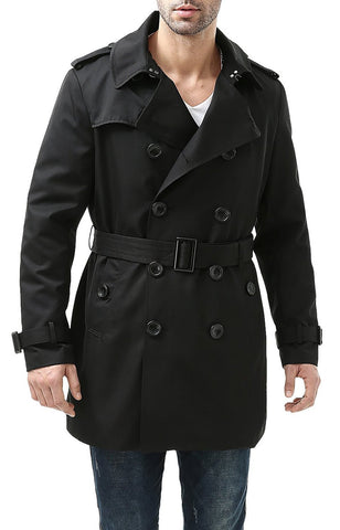 "BGSD Men's ""Cameron"" Double Breasted Mid Length Trench Coat"