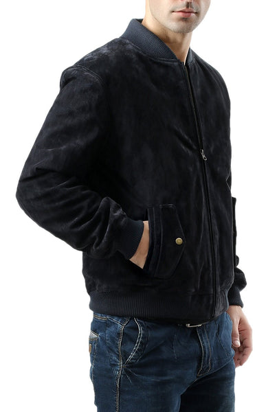 BGSD Men's Suede Leather Bomber Jacket - Big