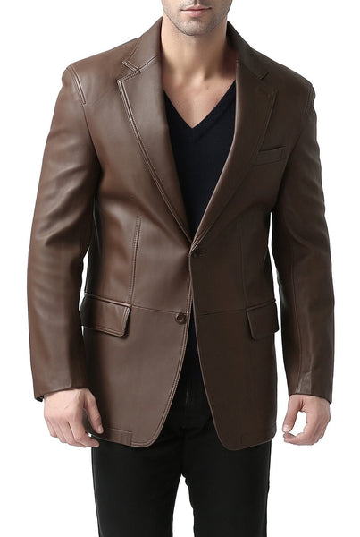 "BGSD Men's ""Grant"" Two-Button New Zealand Lambskin Leather Blazer"
