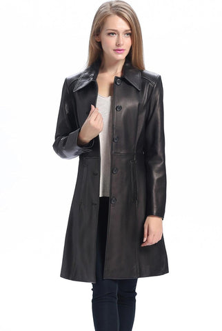 "BGSD Women's ""Amber"" New Zealand Lambskin Leather Walking Coat - Petite"