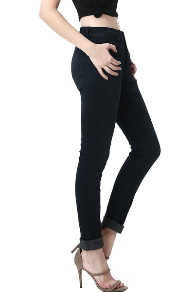 phistic Women's Ultra Stretch Black/Blue Skinny Jeans