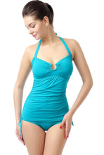 "Load image into Gallery viewer, PHISTIC ""Chloe"" O-Ring Shirred 2-Piece Tankini Bathing Suit Set"