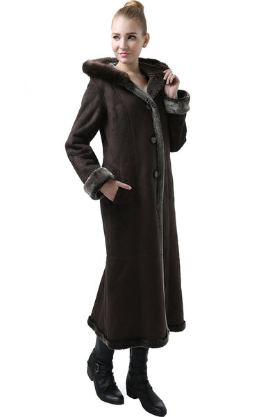 "BGSD Women's ""Pauline"" Hooded Faux Shearling Maxi Coat"