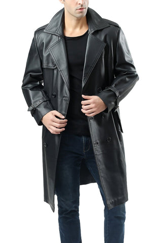 "BGSD Men's ""Xander"" Classic Leather Long Trench Coat - Short"