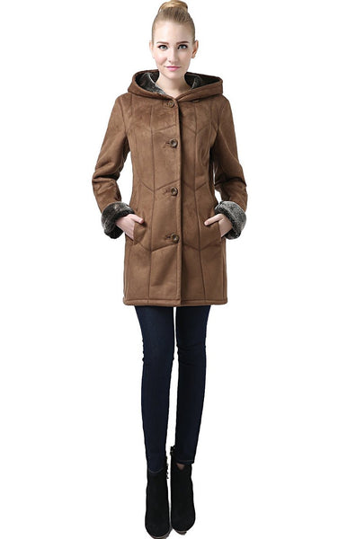 "BGSD Women's ""Sharon"" Hooded Faux Shearling Pant Coat"