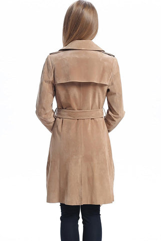 "BGSD Women's ""Molly"" Suede Leather Trench Coat"