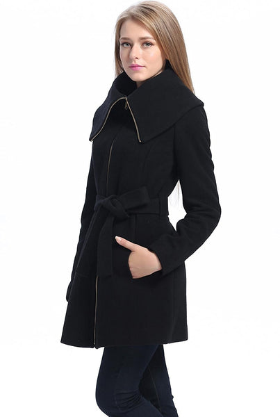 "BGSD Women's ""Robin"" Wool Blend Fold Collar Coat"