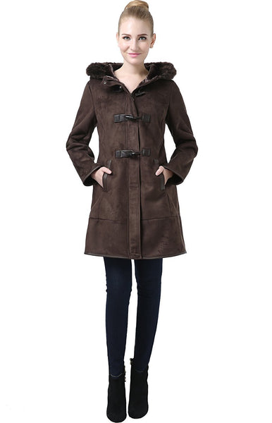 "BGSD Women's ""Jeanette"" Faux Shearling Hooded Duffle Toggle Coat"