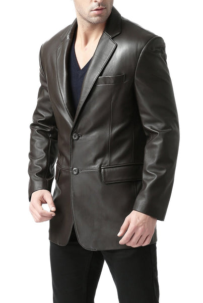 "BGSD Men's ""Richard"" Classic Two-Button Lambskin Leather Blazer- Short"