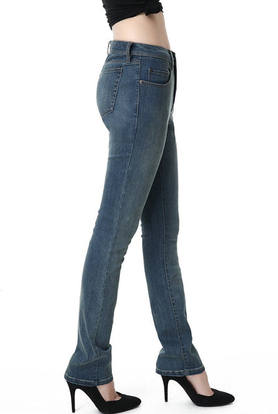 phistic Women's Ultra Stretch Medium Indigo Straight Leg Jeans