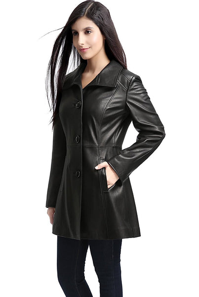 "BGSD Women's ""Belle"" New Zealand Lambskin Leather Walking Coat - Plus"