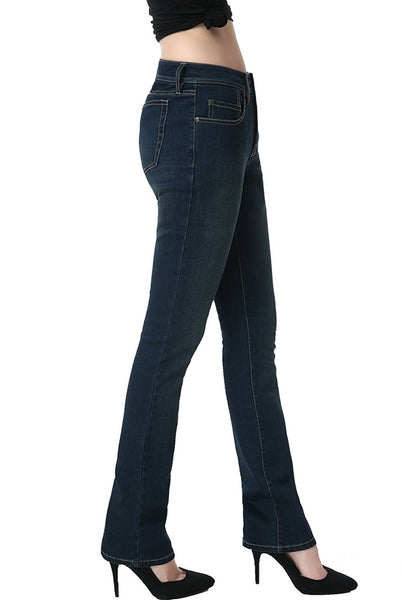 phistic Women's Ultra Stretch Rich Indigo Straight Leg Jeans