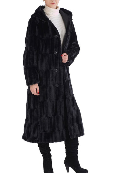 "BGSD Women's ""Lorraine"" Reversible Faux Mink Fur Hooded Maxi Coat"